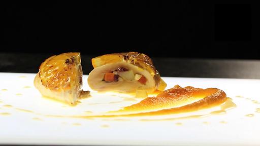 Mini rôti de chapon, oranges et sa purée de patates douces